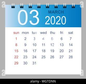 Calendario Marzo 2020.Il Mese Di Marzo In Un Anno 2020 Calendario Da Parete In