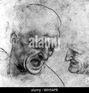 Ansioso e arrabbiato facce disegnate come studi per la Battaglia di Anghiari Foto Stock