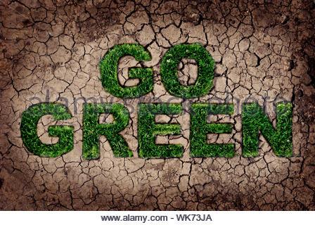Concetto di eco. Erba che cresce dal suolo asciutto in Go Green forma. Foto Stock