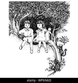 Bambini letto prenota Dreams seduto su un albero. Bianco e nero illustrazione vettoriale semplice da modificare per il tuo poster o scheda design.