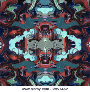 Caleidoscopio simmetrica illustrazione. Bello il design multicolore per poster, scheda, banner. Grafica generata al computer Foto Stock