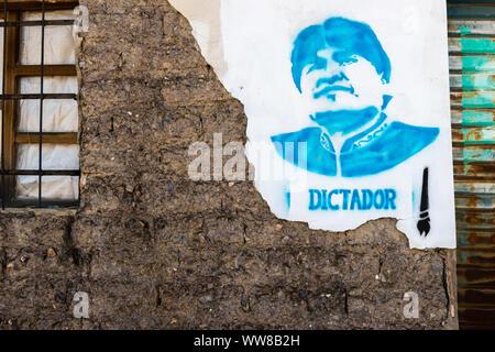 I politici boliviani elezioni per la presidenza nel 2019, pubblicità Evo Morales per il presidente, il Movimento per il socialismo, MAS, partito. Foto Stock