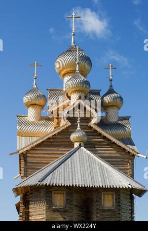Le cupole della chiesa epifania su uno sfondo di cielo blu. Paltoga. Vologda regione, Russia Foto Stock