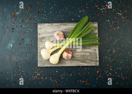 Cipolle Aglio sul bordo. Le cipolle verdi piume con le teste di aglio giacente su una tavola di legno su uno sfondo a trama.