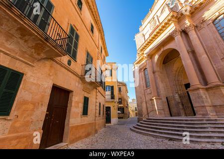 Ciutadella Cattedrale di Menorca di Ciudadela downtown in isole baleari Foto Stock