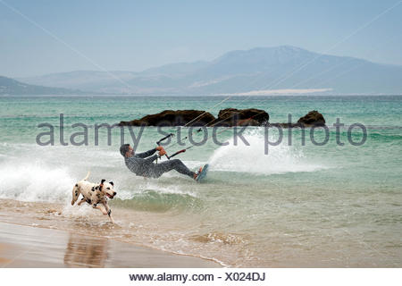 Uomo di kitesurf e cane che corre sulla spiaggia de Los Lances Tarifa, Cadice, Andalusia, Spagna Foto Stock