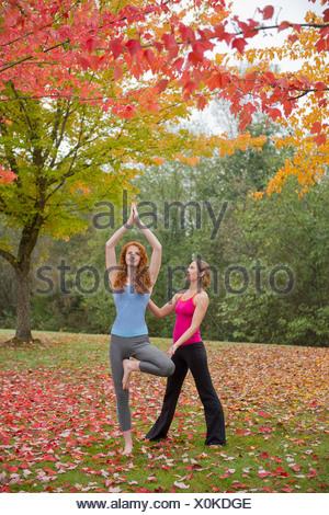 Istruttore Yoga insegnamento giovane donna in foresta Foto Stock