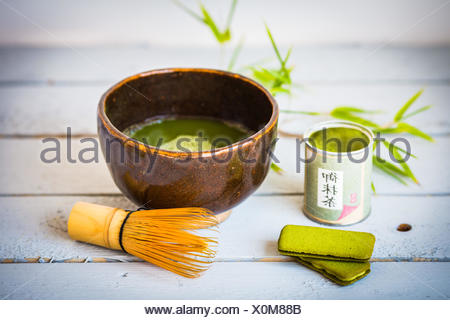 Matcha, polvere di tè verdi giapponesi. Foto Stock