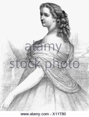 Eugenie, 5.5.1826 - 11.7.1920, Imperatrice consorte di Francia 30.1.1853 - 4.9.1870, a mezza lunghezza e incisione in acciaio da Metzger, 1853, , artista del diritto d'autore non deve essere cancellata Foto Stock