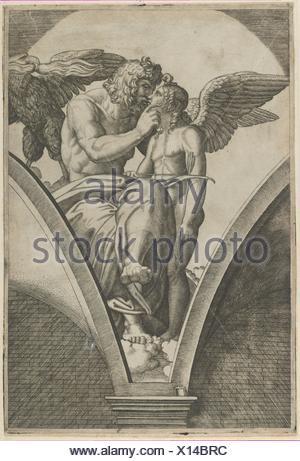 Giove abbracciando Cupido dopo di Raffaello in affresco i Chigi Galleria di Villa Farnesina a Roma. Artista: Marcantonio Raimondi (italiano, argini (?) Foto Stock