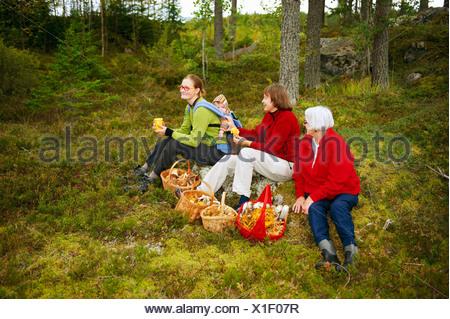 Le Donne con ceste di funghi nella foresta Foto Stock