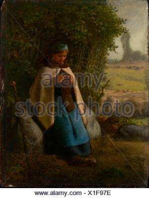 Pastorella seduto su di una roccia. Artista: Jean-François Millet (Francese, 1814-1875 Gruchy Barbizon); data: 1856; mezzo: Olio su legno; Dimensioni: 14 1/8 x Foto Stock