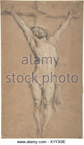Cristo sulla croce; tergo: San Girolamo la lettura a lume di candela e schizzo del torso maschio (?). Artista: Dopo Anthony van Dyck (fiammingo di Anversa Foto Stock