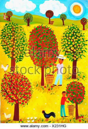 Famiglia raccolta di mele in Orchard Foto Stock