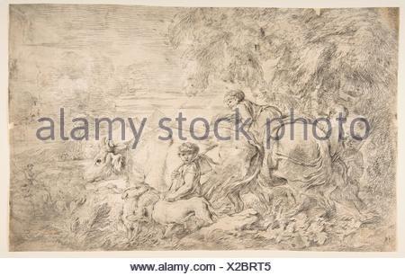 Pastori con i loro greggi. Artista: Giovanni Benedetto Castiglione (Il Grechetto) (italiano, Genova 1609-1664 Mantova); medie: incisione; dimensioni: Foto Stock