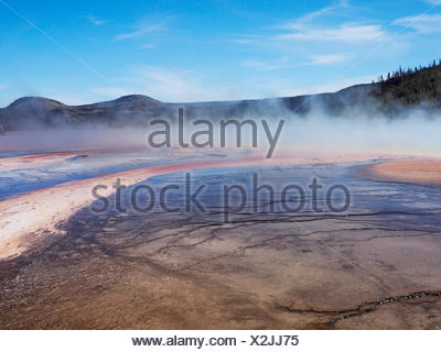 Grand Prismatic Spring, Midway Geyser Basin, USA, Wyoming, il Parco Nazionale di Yellowstone Foto Stock