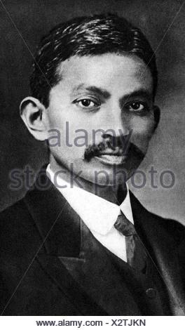 , Gandhi Mohandas Karamchand chiamato mahatma, 2.10.1869 - 30.1.1948, uomo politico indiano, ritratto, come giovane uomo, , Additional-Rights-giochi-NA Foto Stock