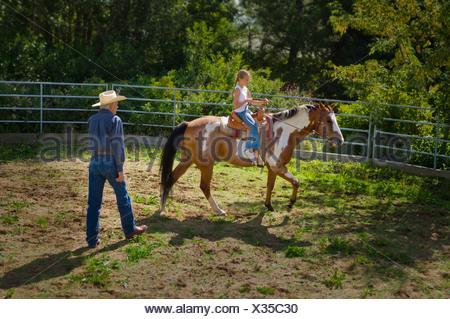 Ragazza giovane imparare a guidare un cavallo in un recinto per bestiame; Edmonton, Alberta, Canada Foto Stock