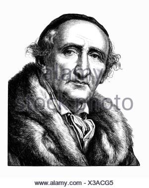 Schadow Johann Gottfried, 20.5.1764 - 27.1.1850, scultore tedesco, ritratto, acciaio, incisione del XIX secolo , artista del diritto d'autore non deve essere cancellata Foto Stock