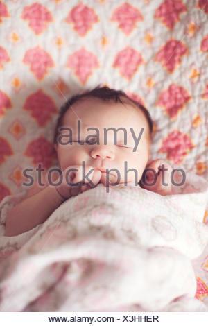 Baby girl sleeping Foto Stock