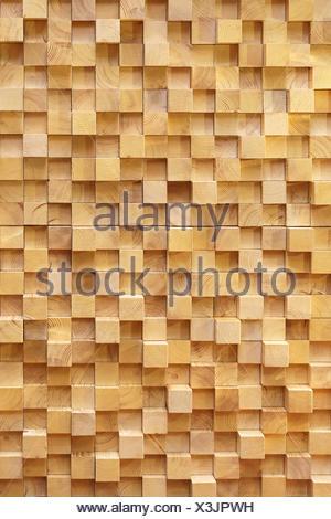 Parete di legno cubi Foto Stock