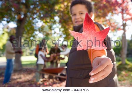Multi famiglia generazionale la raccolta di foglie di autunno in giardino focus su boy 7 9 azienda red maple leaf in primo piano Foto Stock