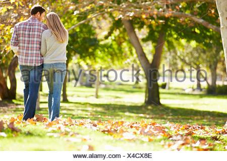 Vista posteriore della coppia romantica passeggiate attraverso boschi di autunno Foto Stock