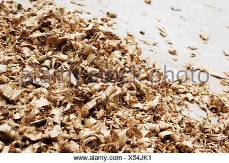Close up di trucioli di legno Foto Stock