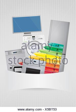 L'efficienza energetica della scala di valutazione Foto Stock
