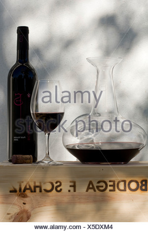 Petit verdot vino rosso Bodega F. Schatz, decanter, vino, bottiglia, vetro, Ronda, Andalusia, Spagna, Europa Foto Stock