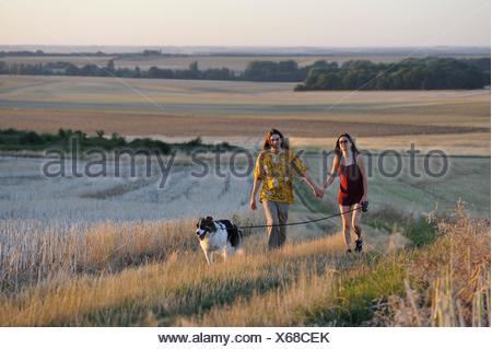 Coppia di giovani a piedi con un cane intorno Mittainville, Yvelines reparto, regione Ile-de-France, Francia, Europa. Foto Stock