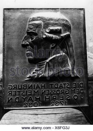 Haydn, Joseph, 31.3.1732 - 31.5.1809, compositore austriaco, piatto commemorativo, rilievo di Rudolf, Foto Stock