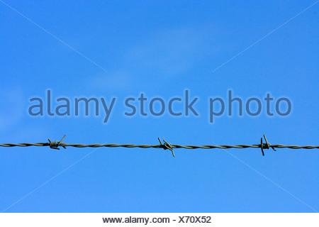 Cielo blu e barbwire, barbedwire Foto Stock