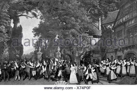 Lortzing, Albert, 23.10.1801 - 21.01.1851, compositore tedesco, opere, scena finale del primo atto, rapimento di Regina da parte di marauders, Teatro dell'Opera di Berlino, donna, donna, ,