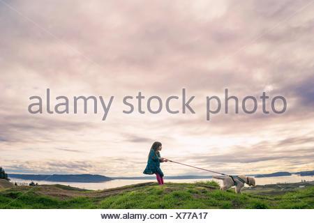 Giovane ragazza camminare golden retriever cucciolo di cane Foto Stock