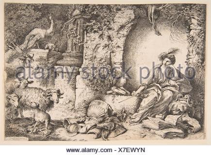 Circe cambiando i compagni di Ulisse in bestie. Artista: Giovanni Benedetto Castiglione (Il Grechetto) (italiano, Genova 1609-1664 Mantova); data: Foto Stock