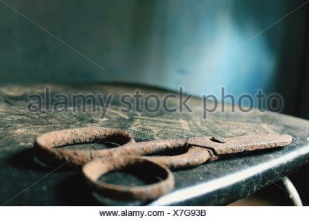 Vista di Rusty forbici Foto Stock