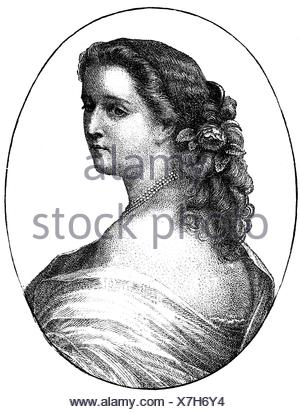 Eugenie, 5.5.1826 - 11.7.1920, Empress Consort di Francia 30.1.1853 - 4.9.1870, mezza lunghezza, incisione del legno dopo l'incisione di Metzmacher, 1860, ,