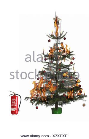 Albero Di Natale Yule.Albero Di Natale Blast Estintore Dettaglio Natale Yule Marea Per Natale La Masterizzazione Di Albero Di Natale Albero Decorate Decorazioni Natalizie Sfera Sfera Di Natale Candele Fuoco Pericolo Fuoco Fiamme Fumo Pericolosamente