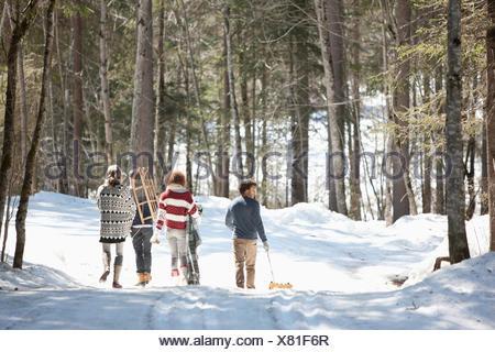 Quattro amici a piedi nella neve, vista posteriore Foto Stock