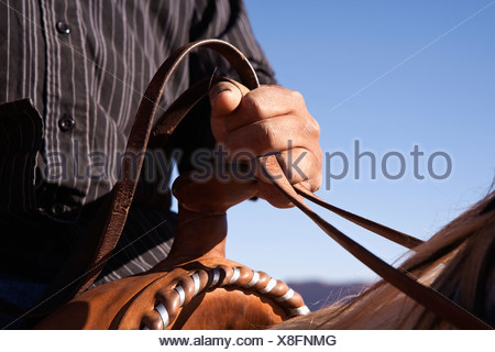 Uomo a tenere le redini del cavallo, close-up, la messa a fuoco a portata di mano Foto Stock