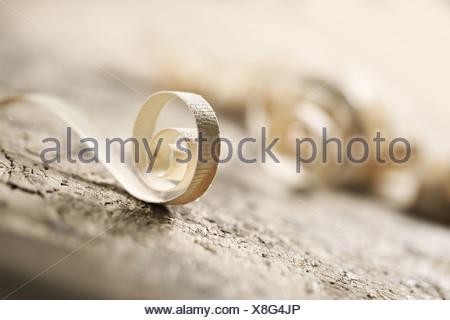 Trucioli di legno con profondità di campo Foto Stock