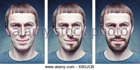 Stadio la rasatura del viso. Il concetto di foto Foto Stock