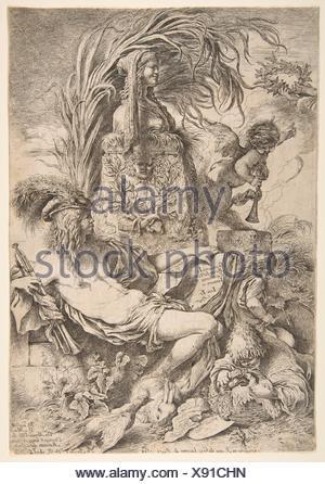 Il genio di Castiglione. Artista: Giovanni Benedetto Castiglione (Il Grechetto) (italiano, Genova 1609-1664 Mantova); Editore: Giovanni Giacomo De Foto Stock