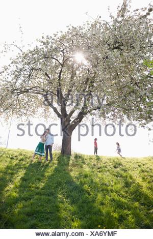 Famiglia giocare sotto agli alberi all'aperto Foto Stock