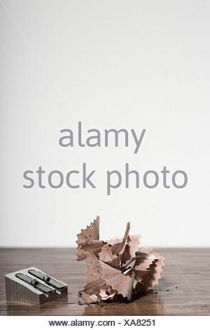 Temperamatite e trucioli Foto Stock