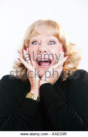 Sorpreso donna matura Foto Stock