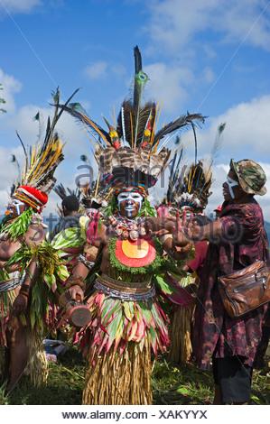 Gli artisti interpreti o esecutori tribali a Mt Hagen Visualizza in Papua Nuova Guinea indossando uccello del paradiso plumes in abiti di testa Foto Stock