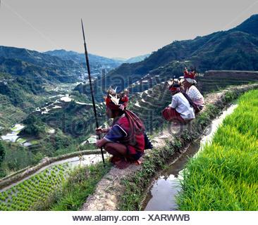 Ifugao persone, i membri di un gruppo etnico che indossano i costumi tradizionali, Banaue terrazze di riso, noto anche come picco musuan, Banaue Foto Stock