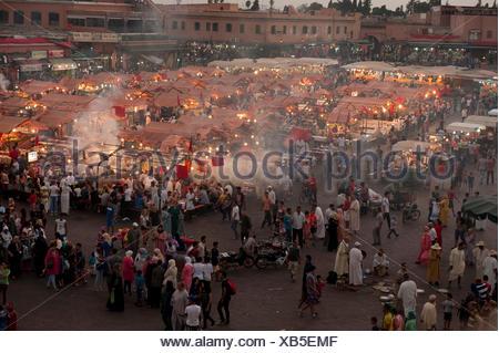 Djemaa el Fna a Marrakech, Marocco Foto Stock